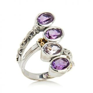 Bali Designs by Robert Manse 2.86ctw Shades of Amethyst Sterling Silver Crossover Ring   7881762