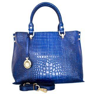 Leatherbay Italian Leather Velletri Croc Print Handbag