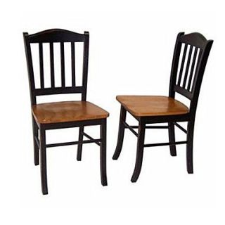 Boraam Rubberwood Shaker Dining Chair, Black/Oak, 2/Pack