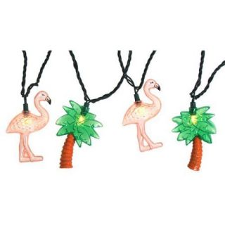 Set of 10 Flamingo & Palm Tree Summer Patio Novelty Christmas Lights  Green Wire
