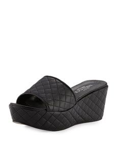 Sesto Meucci Tahnee Quilted Wedge Slide Sandal, Black