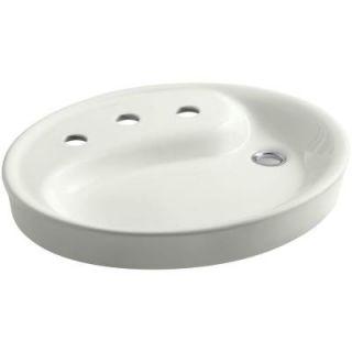 KOHLER Yin Yang Drop In Vitreous China Bathroom Sink in Dune with Overflow Drain K 2354 8 NY