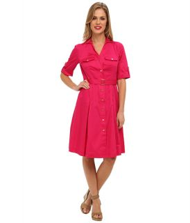 Jones New York Belted Shirt Dress Fuchsia