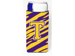 Monogram   Tiger Stripe   Purple Gold  Letter T Ultra Beverage Insulators for slim cans CJ1022 TMUK